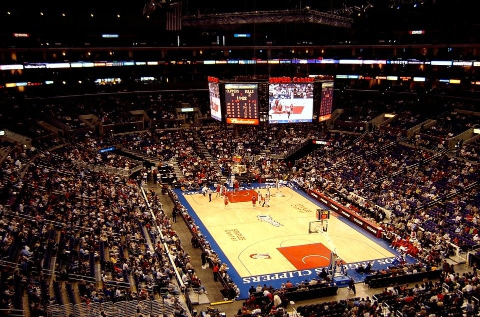 a full house at the staples center during an NBA game