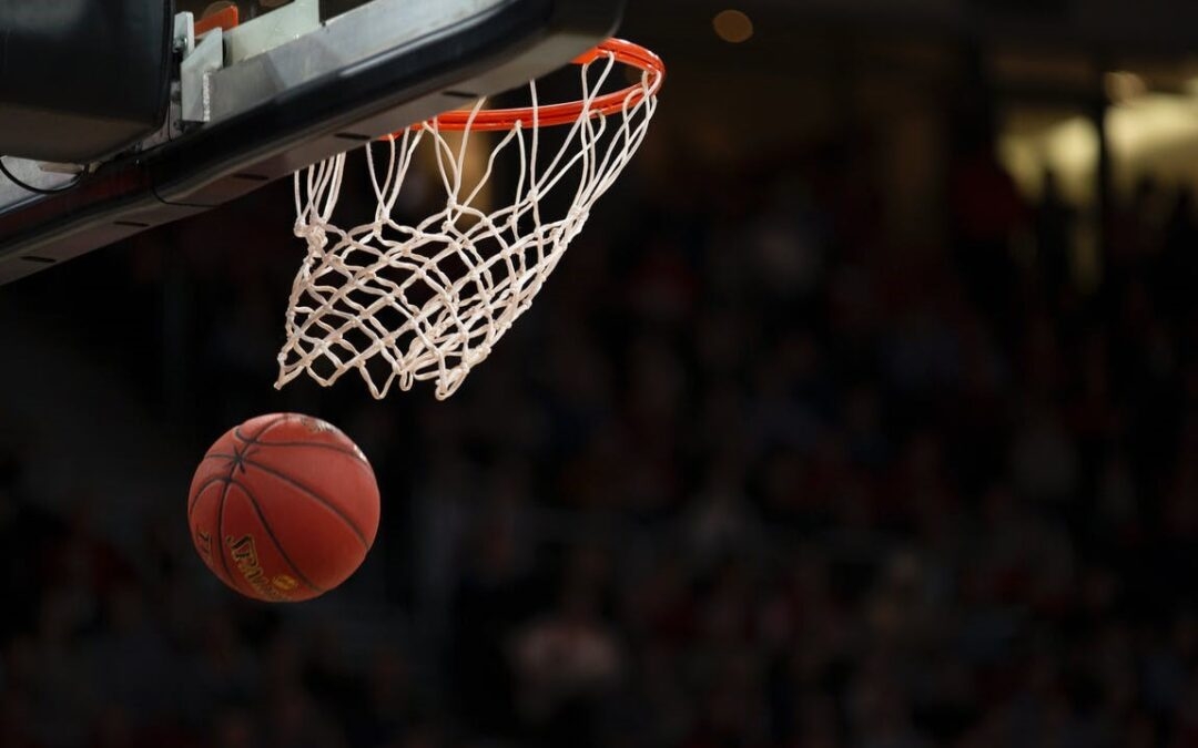 basketball going through the rim during game