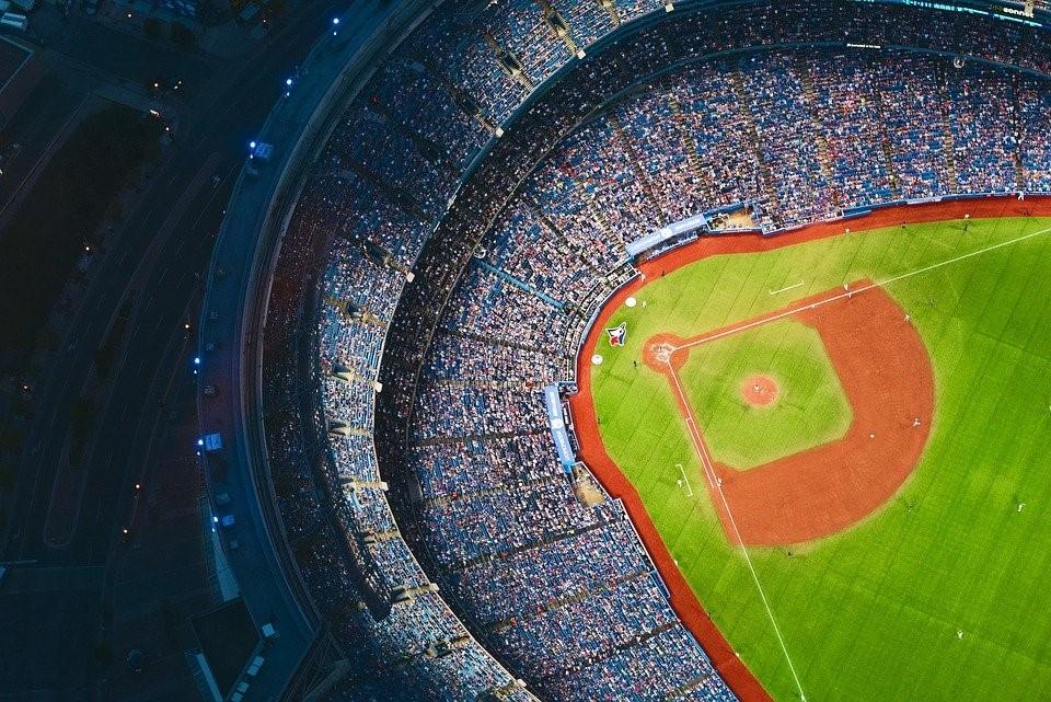 A bird's eye view of a baseball stadium