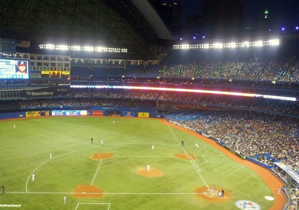 A baseball stadium