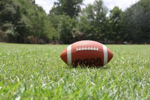a football sitting on green grass